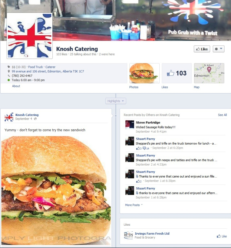website - Knosh Catering - Facebook
