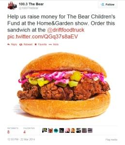 Tweet - 100.3 The Bear - Mar 22.14